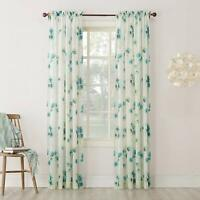 CURTAIN- Sheer Floral Print Window Curtain Panel- Pick Size and Color
