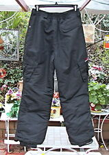 Suisse Sport Black Gray Windowpane Plaid Snow Ski Board Cargo Pants Youth 14