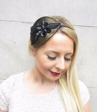 Black Gold Sequin Flower Fascinator Races Cocktail Hair Headband Wedding 2656