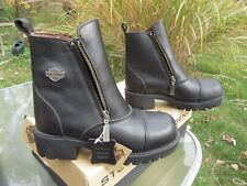 "Harley Davidson Woman's 6"" Zip-up Black Leather Boot 82016 / Us 6 M / Deadstock"