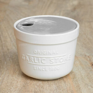 Glazed Ceramic Garlic Store Storage Jar Pot Container Canister with Grater Lid