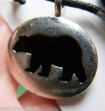 BEAR AMULET ~  Animal Spirit Guide totem  Pewter PENDANT w/ black necklace cord