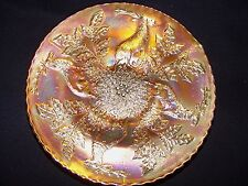 """REDUCED!!! FENTON STAG AND HOLLY MARIGOLD 3-SPATULA FOOT 9"""" DI  PLATE CARNIVAL"""