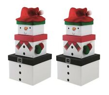 2 Plush Snowman Set of 3 Nested Stackable Cute Christmas Eve Gift Boxes Square
