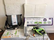 Wii Console Fit Bundle Remotes Cables Bag Plus Sensor Games Zumba Belt Fiit Kit