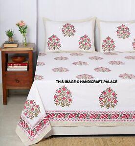 Indien Main Bloc Imprimé Fleur Lit Drap Set Reine Taille Couvre-Lit Avec Coussin