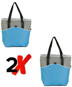 2 X LIGHT BLUE COOL BAGS PICNICS FROZEN FOOD SHOPPING CAMPING INSULATED