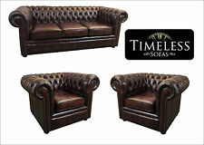 Leather Chesterfield 3 Piece Suite Made In 3 Antique Leathers OXBLOOD Red
