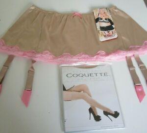 Shirley of Hollywood Beige satin & lace garter belt set Size 2X Style 20507