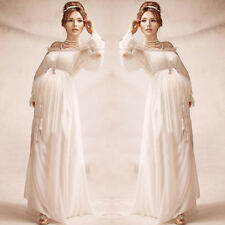 New Women Maternity Dress White Chiffon Gown Vintage Photography Prop Clothing