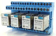 4x FINDER 55.34 Steckrelais Industrierelais 24VDC 4W 250V~ 5A + Sockel 94.84.1