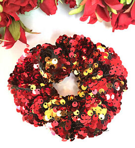 Sequin Glitter Hair Accessories Scrunchie Red Gold Yellow 'JEWEL OF FIRE'