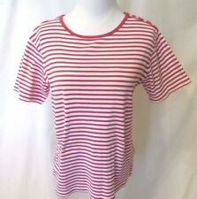 6e13f9d71bfd41 Talbots Shirt Women's S Pink White Striped Button On Shoulder Short Sleeve
