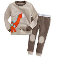 "Vaenait Baby Toddler Kids Boys Girls Clothes Pajamas Set ""Brown Dino"" 12M-7T"
