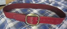 Vintage CRIMSON RED cordovan HARNESS LEATHER wide BELT mens sz 34-36 hippie