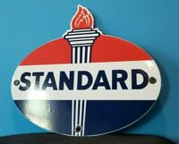 VINTAGE STANDARD GASOLINE PORCELAIN GAS SERVICE STATION TORCH PUMP SIGN