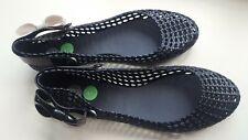 MELISSA PVC sandals women UK size 7 EU 40 BLACK bow flat soft plastic SHOES US 9