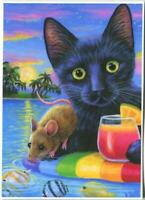 ACEO BLACK CAT MOUSE FISH OCEAN TROPICAL VACATION COCKTAIL PALM TREES SEA PRINT