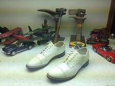 USA VINTAGE STACY ADAMS WHITE LEATHER ALLIGATOR PRINT LACE UP SHOES 10.5 D