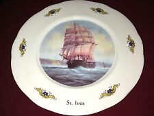 Old Ceramic Plate Depicting a Triple Mast/Clipper Sailing Vessel Titled St.Ives
