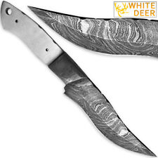 1095HC Damascus Steel Clip-Point Bowie Knife Blank DIY Make-Your-Own Handle