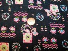 "2 Yards 35"" wide Vintage 100% COTTON FABRIC Quilt Whimsical BLACK PINK FLOWERS"