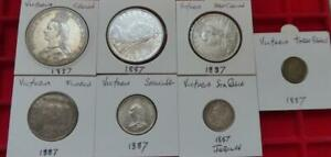 Complete set 1887 Jubilee coins Crown to threepence, 7 coins,  higher grades