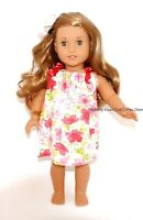 """Pink Flower Pillowcase Dress+ Hair Bow 18""""  Doll Clothes Fits American Girl Doll"""
