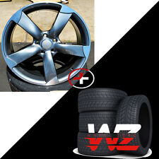20 inch 5 Arm Rotor Style Wheels w Tires 5X112  Gunmetal fits Audi A4 A5 A6 S4