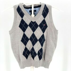 Tommy Hilfiger Childrens Navy Blue and Grey Argyle Sweater Vest Size 4T