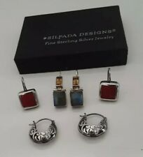 Silpada Sterling Silver Earrings Lot Filigree Hoop Citrine Labradorite Red Stone