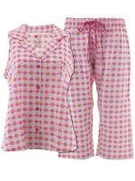 Hanes Womens Pink Floral Capri Woven Cotton Pajamas