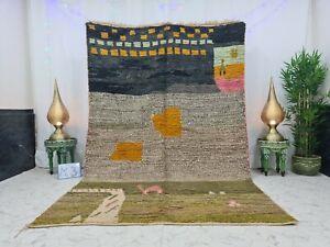 "Handmade Moroccan Vintage Boujaad Rug 6'5""x9'9"" Berber Patchwork Black Green Rug"