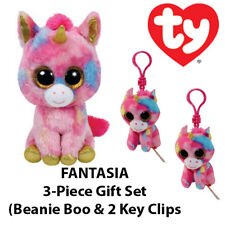 "3-Piece TY ""Fantasia"" the Unicorn Gift Set (Boo & 2 Key Clips)"