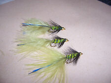 Goldhead Olive Woollybugger & Black Hackle, Blue Flash Damsel size 14 Salmoflies