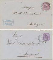 WÜRTTEMBERG GANZSACHEN 1876 5 Pf GU ABART FEHLDRUCK in der Farbe Llilarosa