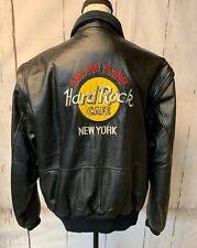 Vintage Hard Rock Cafe Men's Large Black Leather Jacket New York