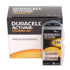 Duracell Easytab/Activair Type 312 Hearing Aid Batteries Zinc Air P312 60 Pcs