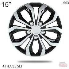 """NEW 15"""" ABS SILVER RIM LUG STEEL WHEEL HUBCAPS COVER 553 FOR HONDA"""