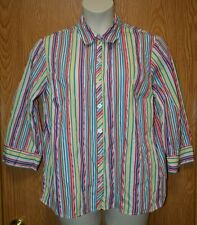 Womens Pretty Striped City Blues by Koret 3/4 Sleeve Shirt Size XL excellent