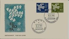 BRD FDC MiNr 367x-368x (13c) Europa (CEPT) 1961 -Vereinigung-Staatenbund-Politik