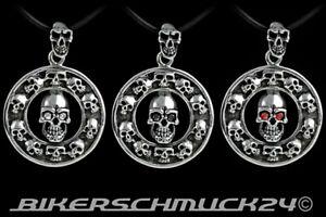 Totenkopf Anhänger Bikerschmuck Skulls Edelstahl mit Zirkonia Herren Geschenk