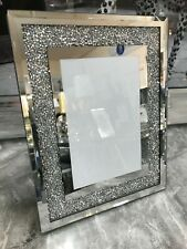 Crushed Diamond 6x4 photo frame, mirror glass trim with crushed sparkle picture