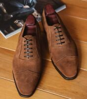 Handmade Men's Brown Suede Dress/Formal Oxford Shoes