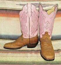 Womens Justin L2667 Brown / Pink Leather Cowboy Boots 7 B Very Good Used Cond
