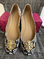 Tory Burch Chelsea Stamped Snake Printed Leather Ballet Flats 49314 Size 7.5