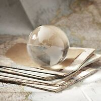 NWT Two's Company World View Etched Globe Paperweight, Hand-Etched Glass Design