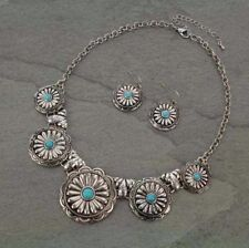 Antique Silver-tone Western Concho & Faux Turquoise Stone Necklace Set