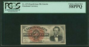 """1869-75 50 CENT FRACTIONAL CURRENCY FR1374 """"LINCOLN"""" PCGS CHOICE ABOUT NEW-58PPQ"""