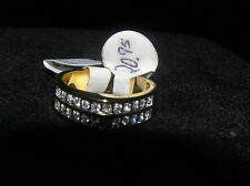 Channel Inset Clear Rhinestone Double Row Slightly Domed Goldtone Ring Size